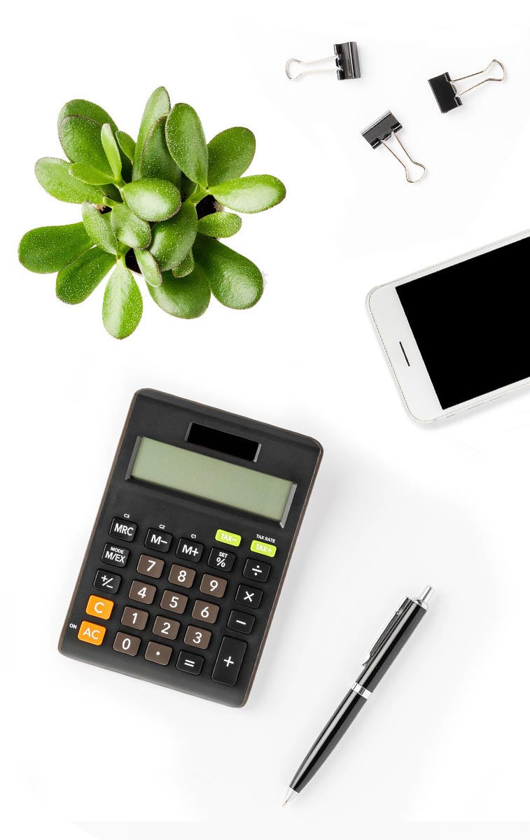 Calculator and desk contents